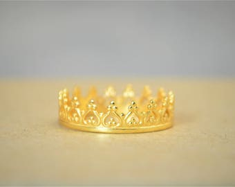Dainty Gold Crown Ring, Gold Princess Crown Ring, Gold Princess Ring, Gold Tiara Ring, Gold Queen Ring, Gold Ring, Gold Crown Ring, Gold