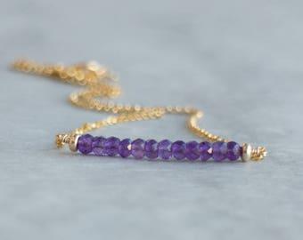 Amethyst Bar Necklace in Silver or Gold, February Birthstone, Dainty Gemstone Jewelry, Amethyst Birthstone, Purple Amethyst, Gift for Her