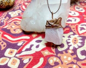 Rose Quartz and Copper Pendant