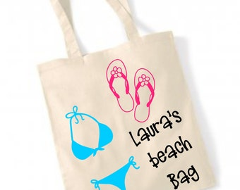 Personalised Beach  bag, Personalized bag, Camper, holiday, vacation ,beach , shopper , tote bag , bag for life , natural , gift ,