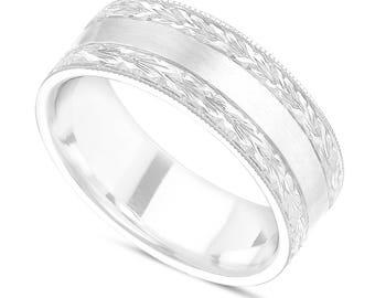 Men's Wedding Band, Hand Engraved Wedding Ring, Vintage Wedding Ring, 7 mm 14K White Gold Handmade Unique