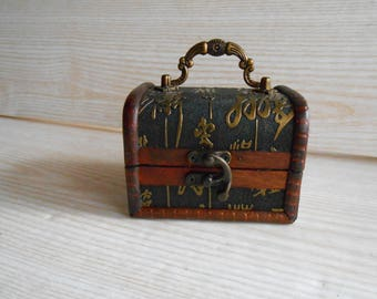 Vintage Wooden Chest, Wood and Leather Trinket Box, Wooden Box for jewelry, Brown Wood and Leather Box, Wood Chest  Jewelry