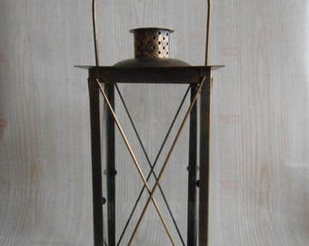 ON SALE Vintage Lantern,  Rustic Lighting,  Antique Brass Lantern, Candle Holder