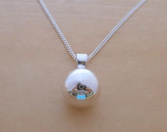 """925 Sterling Silver, 13 mm Diameter Ball Charm, Pendant on 16"""", 18"""" or 20"""" Sterling Silver Curb Chain or Without Chain"""
