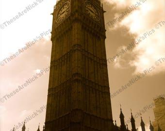 Photo - Big Ben/London/Great Britain/United Kingdom/Clock Tower/Elizabeth Tower/Houses of Parliament/Sepia