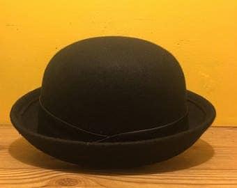 Bowler black faux leather polyester vegan hat
