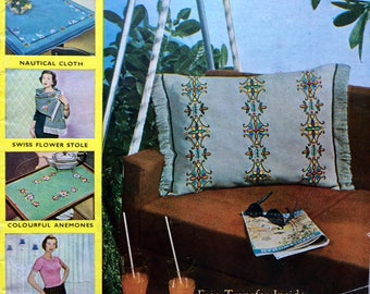 Vintage 1950's Needlewoman and Needlecraft magazine No67 knitting, embroidery patterns