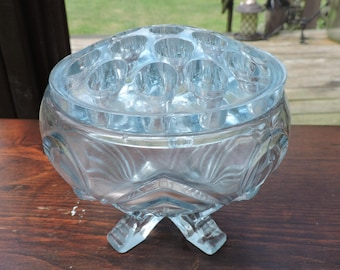 Vintage Ice Blue Glass Posy Flower Bowl with Glass Frog