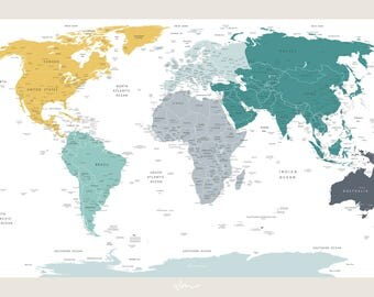 World map etsy au large world map detailed gumiabroncs Image collections