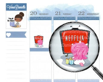 Netflix Planner Stickers, TV Stickers, Show Stickers, Netflix and Chill Stickers, Movie Stickers, Unicorn Stickers, Cute Stickers