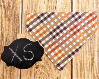 Fall Gingham XS Dog Bandana. Plaid dog bandana. XS dog bandana. Dog bandana. Small dog. Tiny dog. Fall dog bandana. Gingham dog. Collar dog.