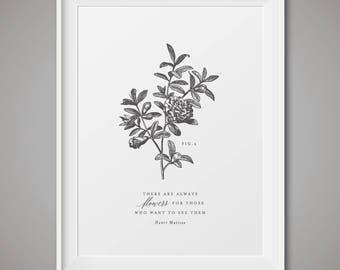 Botanical poster, black and white nature - Fig 6