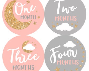 Baby Month Stickers Baby Girl Monthly Milestone Stickers Photo Prop Baby Shower Gift First Year Belly Stickers 12 Months Gold Glitter Stars