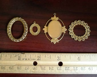 Bezels Filigree Bezels Victorian Bezels - Jewelry Supply, Pendants, Craft Supply, Brass