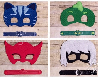 PJ Masks Inspired Mask & Bracelet Set/Child/Adult/Cosplay/Pretend Play/Costume/Halloween/Photo Booth/Birthday/Party Favor/Gift