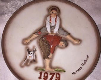 Norman Rockwell, Leapfrog, 1979, collectible plate, Dave Grossman, 1st edition
