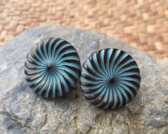 Vintage Green and Metallic Gold, Czech Glass Button Pinwheel Earrings.