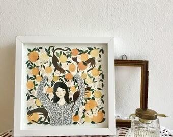 illustration print, watercolor illustration, girl portrait, orange girl, girl painting