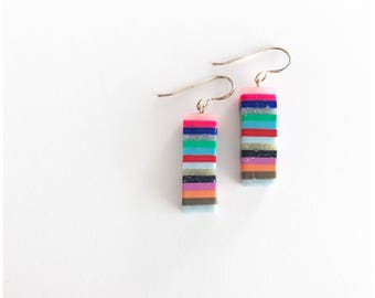 Striped rectangles – handmade polymer clay earrings with sterling silver wire