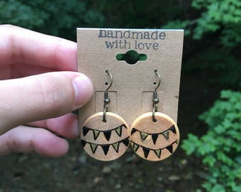 FESTIVE FLAGS woodburned earrings