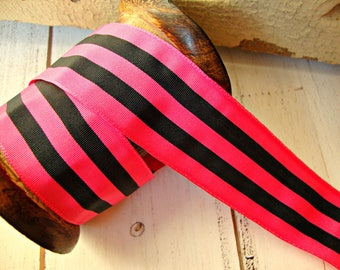 Hot Pink and Black Stripe Grosgrain Ribbon