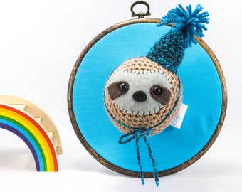 Crochet sloth, Wall hanging animal, sloth head, sloth wall mount, taxidermy sloth, room