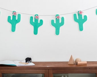 Garland, cactus wall art, Plant wall art, succulent decor, botanical, living room decor, cactus, nature, cactus decor, succulents, home