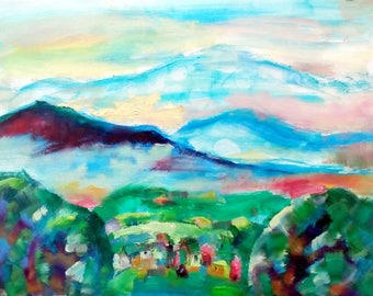 Summer in Balkan, original painting, oll on canvas, summer, paint