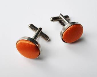 Orange Fabric Cufflinks, Wedding Cufflinks