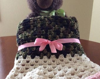 Baby Girl Banket, Crochet, Camouflage and Pink, Handmade