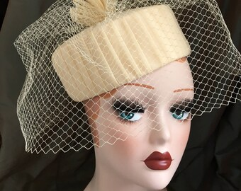 Vintage Pillbox Hat by BERMONA 1960s Ivory Birdcage Veil - Wedding/Races/Occasion