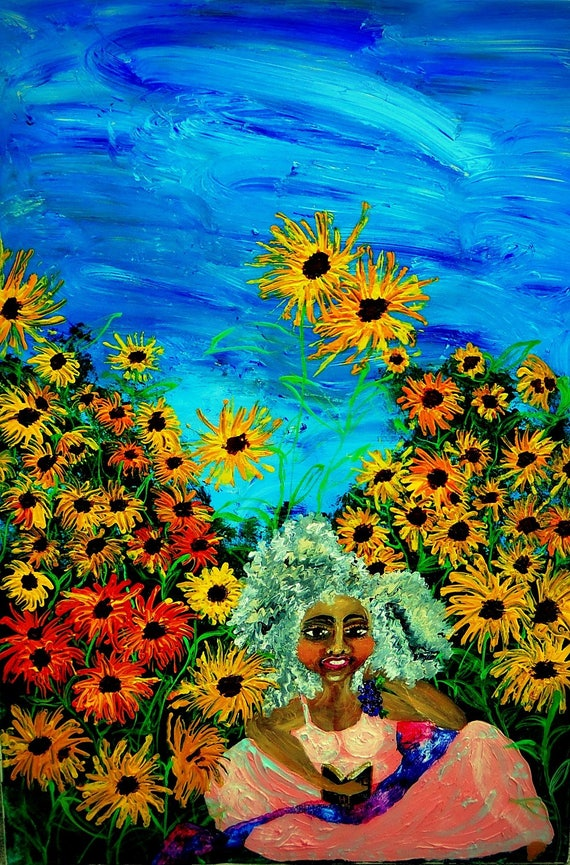 "Acrylic Painting 24 x 36"" Canvas , SUNDAY BRUNCH, Ethnic Folk Art, Garden Art, Sunflowers, by African American Artist Stacey Torres"