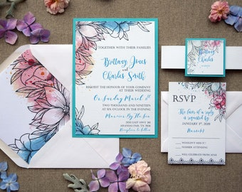 Modern Tiffany Wedding Invitation, Blue and White Wedding Invitation, Colorful Wedding Invitation, Blue Modern Wedding Invitation - SAMPLE