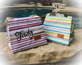 Personalized Insulated Lunch Bag - Insulated Lunch Bag - Lunch Tote - Personalized Lunch Tote - Striped Lunch Bag - Cute Lunch Bag