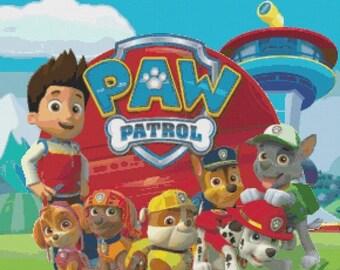 "Paw Patrol Counted Cross Stitch Paw Patrol pattern pdf chart クロスステッチ ristipisto kuvio  korsstygn -  20.71"" x 19.21"" - L1179"