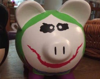 Joker Batman Hand Painted Ceramic Piggy Bank Medium