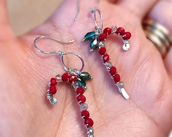 Candy cane earrings handmade with sterling silver wire and crystal beads.