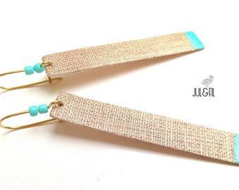 Long sleepers gold linen INNOLIN ©, lacquer and beads turquoise