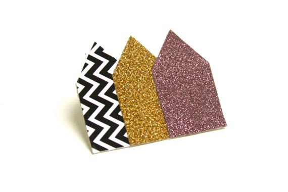 Brooch geometric glitter houses glitter chevrons on organic coated canvas