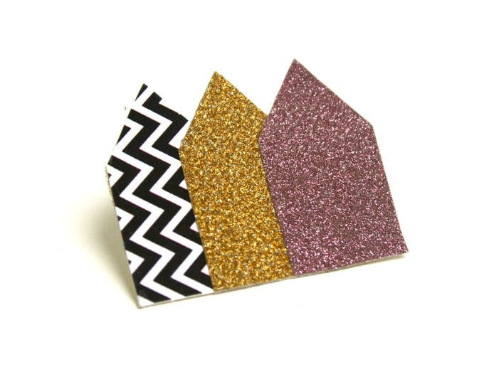 Brooch geometric glitter houses glitter chevrons on organic coated canvas