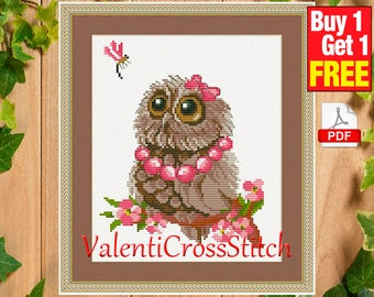 Owl Summer Cross Stitch Pattern, Cross Stitch Patterns, Counted Cross Stitch Patterns, PDF cross stitch pattern, #sp 121