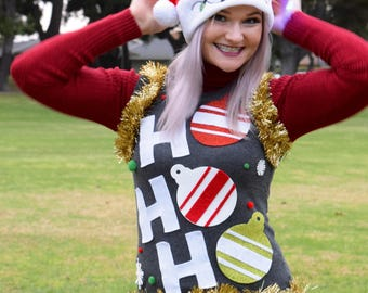 Ugly Christmas Sweater Vest | Womens Christmas Sweater | Ugly Christmas Sweater Party | Ho Ho Ho Vest |  Ships Same or next day!