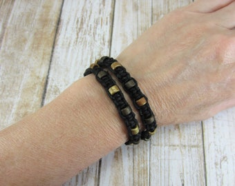 Macrame Bracelet, Tan and Black Hippie Bracelet, Black Knotted Bracelet, Black Hemp Bracelet, Brown Wrap Bracelet, Gifts for Girls