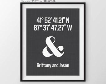 Couples Latitude Longitude Print Housewarming Gift Ampersand Anniversary print Couples Gift Custom Housewarming Decor Modern Wall Decor