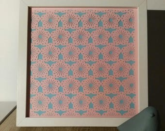 "Frame thick kirigami ""cherry blossom"" * hand cutting *."