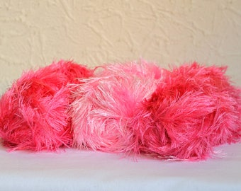 Furry decorative yarns, 3 x 100g / 3.5 oz balls