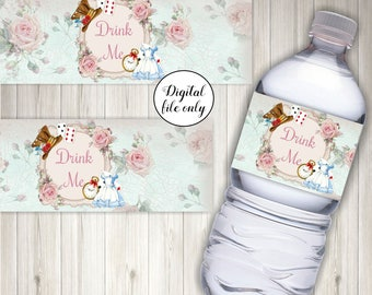 Alice in Wonderland Drink Me Bottle Labels - Digital, Printable,Party,Wedding