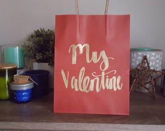 My valentine - Red Stripe Custom Gift Bag - Valentine's Day Gift Bag - Handlettered Gift Bag - Valentine's Day Bag - Handmade Gift Bag