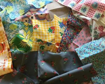 Bright Scrap Bag Assortment of Vintage Remnants - Quilts and Crafting - 12 Different Prints - Some Feedsack