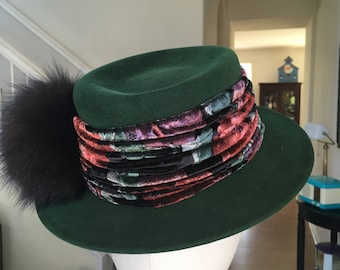 Vintage Green Felt Hat by Don Anderson